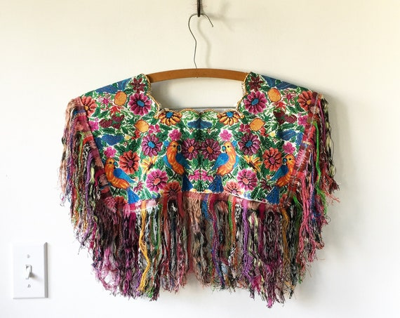 Vintage Fringed Huipil Top, Ethnic Embroidered Poncho , Fringed Collar , Statement Piece