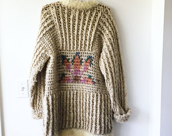 Vintage 70s Chunky Cardigan , Sweater Coat