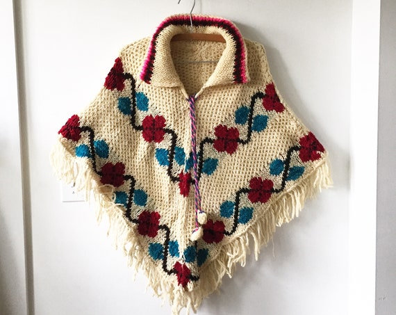 Vintage 70s Mexican Wool Poncho , Chunky Knit Poncho , BOHO Festival Cape