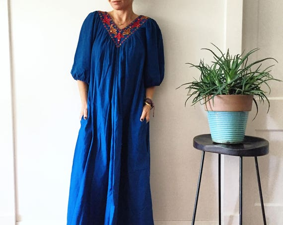 Vintage 70s Indian Cotton Dress , BOHO Hippie India Dress , Mirrored India Dress , Banjara Dress