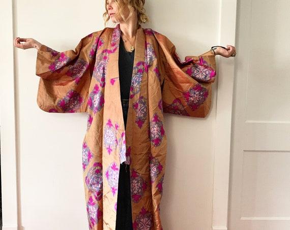 Vintage Japanese Silk Kimono , Maxi Kimono , Floral Kimono , Printed Silk Kimono