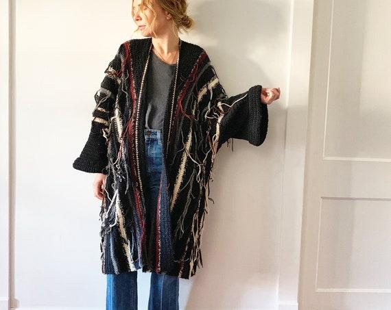 Vintage Chunky Cardigan , Oversize Fringed Sweater , Sweater Coat