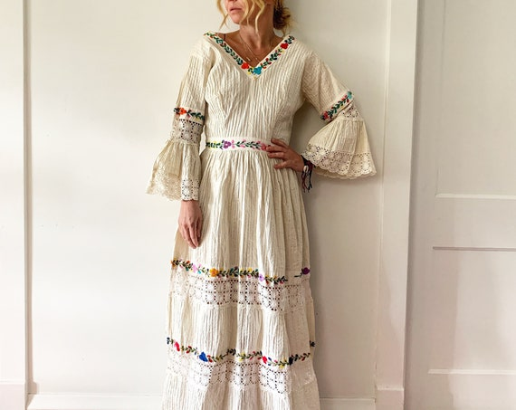 Vintage 60s Mexican Wedding Dress , Hand Embroidered Crochet Maxi BOHO Dress