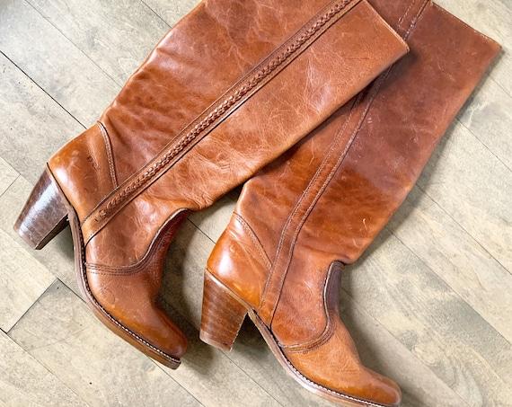 Vintage 70s Dexter Tall Boot, Southwestern Knee High Boot sz 7N