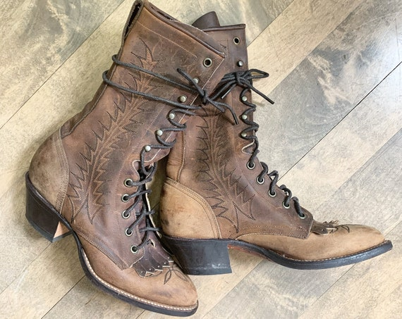 Vintage Lace Up Boot , Tall Lace up Leather Boot , Roper Boot sz 5.5