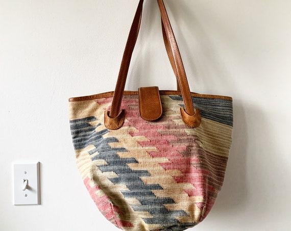 Vintage Kilim Bag , Carpet Bag , Tapesty kilim Bag