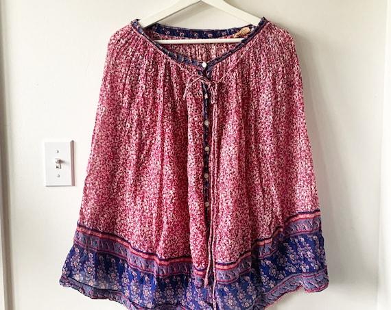 Vintage India Cotton Gauze Skirt , Indian Cotton Midi Skirt