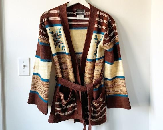 Vintage 70sCardigan , Wrap Sweater , Aztec Cardigan