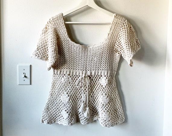 Vintage 70s Crochet Blouse , Cotton Crochet Top