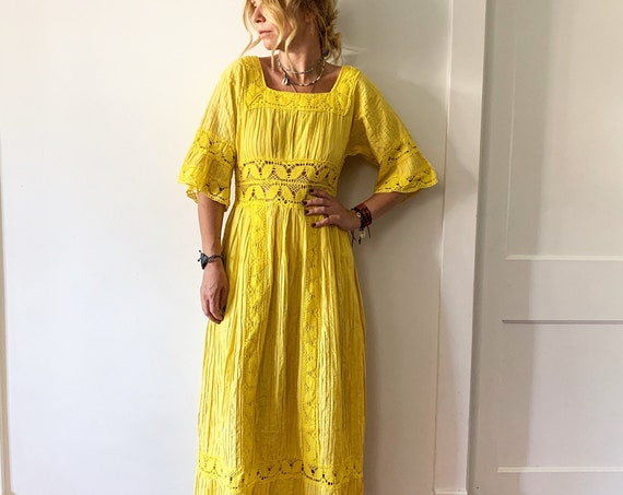 Vintage Crochet Trim Mexican Dress , Mexican Midi