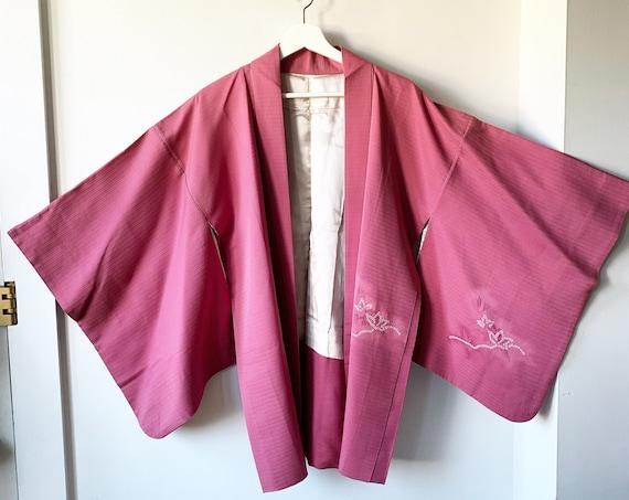 Vintage Silk Japanese Metallic Kimono, Printed Silk Kimono , Layering Jacket