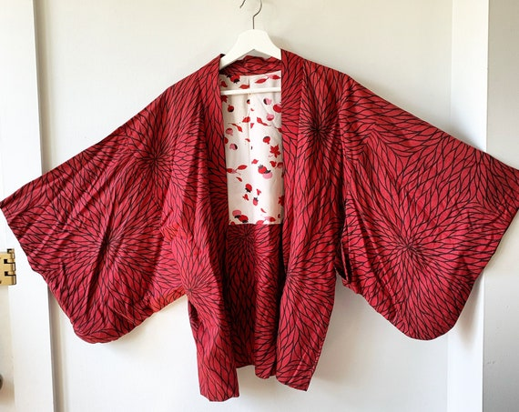 Vintage Japanese  Kimono,  Printed Kimono , Layering Jacket