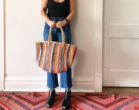 Vintage Oversize Straw Bag , BOHO Beach Bag