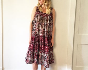 Vintage 70s Cotton Gauze Dress , BOHO Hippie Sun Dress , Kaiser Block Print Dress