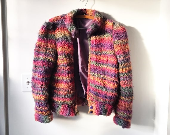 Vintage Knit Bomber Jacket , Rainbow Knit Jacket , Knit Sweater Coat