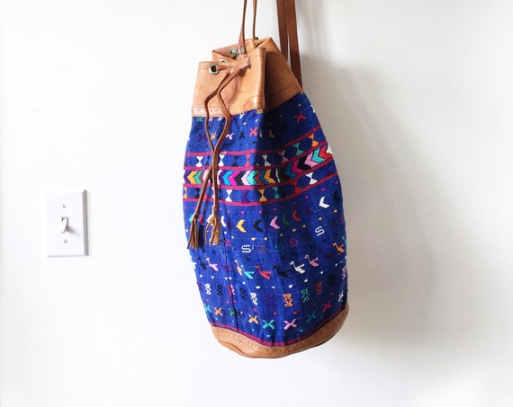 Vintage Ethnic Woven Bucket Bag, Leather Textile Backpack , Crochet Leather Backpack