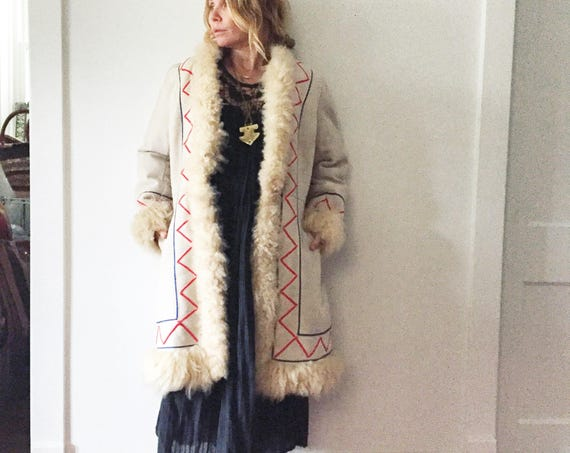Vintage Embroidered Shearling Coat , Mongolian Lamb Fur Coat , BOHO Winter Coat , Embroidered Suede Coat