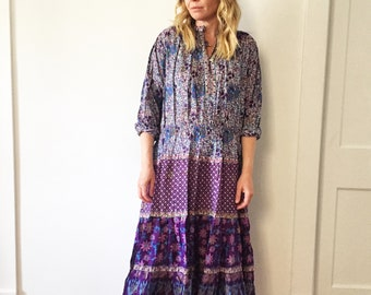 Vintage 70s Cotton Gauze Dress , BOHO Hippie India Dress , Kaiser Dress