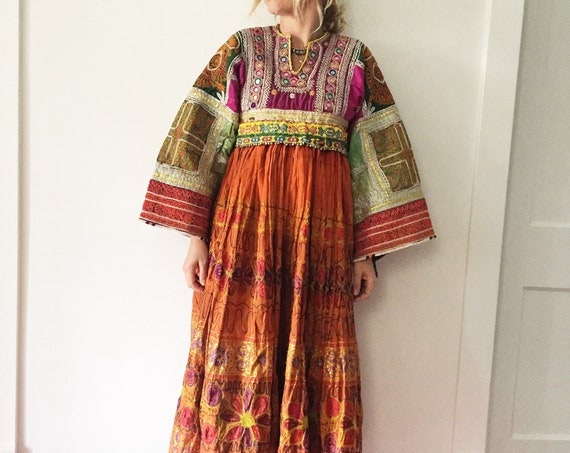Vintage Kuchi Tribal Dress , Embroidered Beaded Silk Afghan Midi Dress