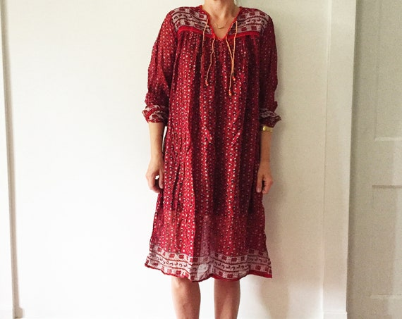 Vintage India Cotton Gauze Tunic Dress , Indian Cotton Dress , Block Print India Dress