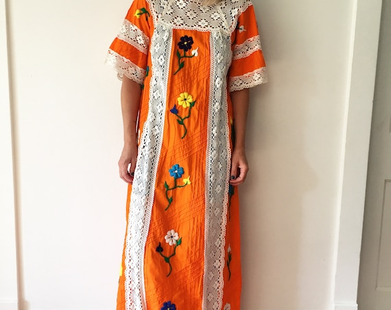 Vintage Crochet Trim Mexican Kaftan, Ethnic Maxi Dress , Embroidered Mexican Maxi Dress