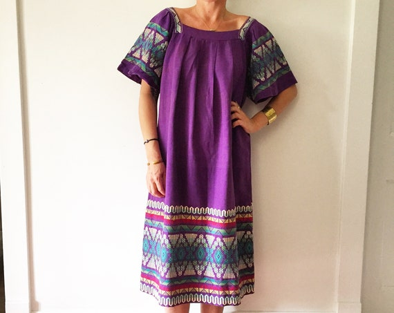 Vintage Embroidered Guatemalan Kaftan, Hand Loomed Dress , Cotton Midi Dress , Ethnic Kaftan