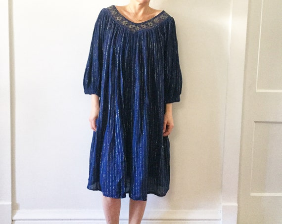 Vintage Cotton Gauze Grecian Dress  , Cotton Gauze Lurex Dress