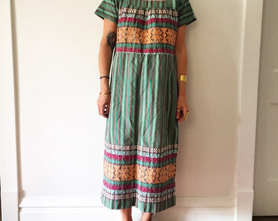Vintage Embroidered Guatemalan Kaftan, Hand Loomed Butterly Dress , Cotton Maxi Dress , Ethnic Kaftan