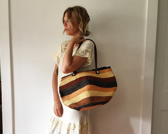 Vintage Sisal and Leather Market Bag , Ethnic Straw Straw Bag
