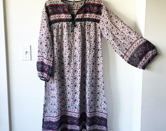 Vintage Metallic India Cotton Gauze Tunic Dress , Indian Gauze Dress