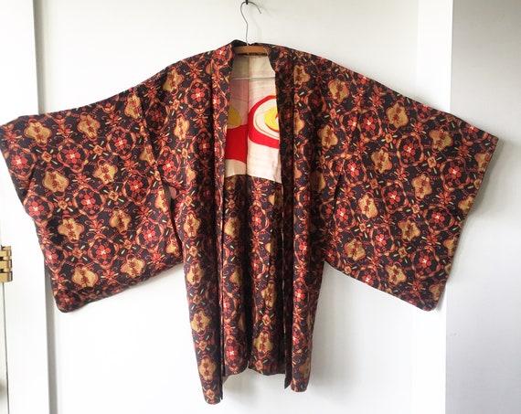 Vintage Silk Japanese Batik Kimono, Textured Silk Kimono , Layering Jacket