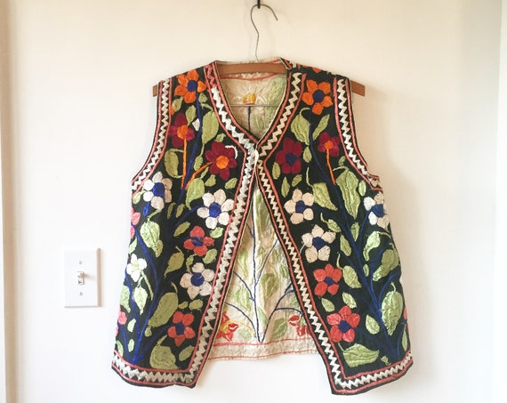 Vintage Heavily Embroidered Ethnic Vest, Afghan Embroidered Vest, BOHO Floral Vest