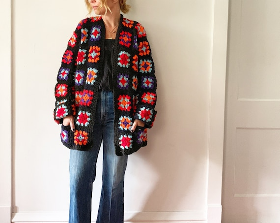 Vintage Afghan Crochet Cardigan , Oversize Hippie Sweater