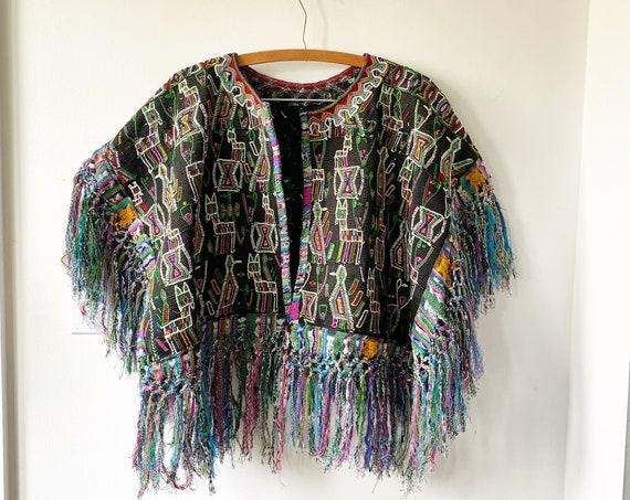 Vintage Embroidered Fringed Jacket , Guatemalan Huipil Jacket , BOHO Fringed Jacket