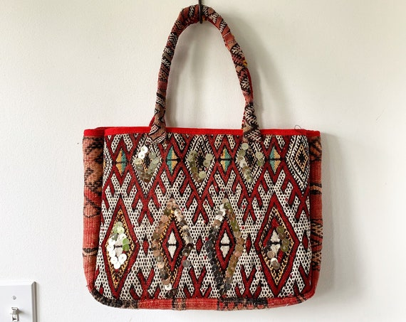 Vintage Moroccan Kilim Bag, Kilim Tote Bag