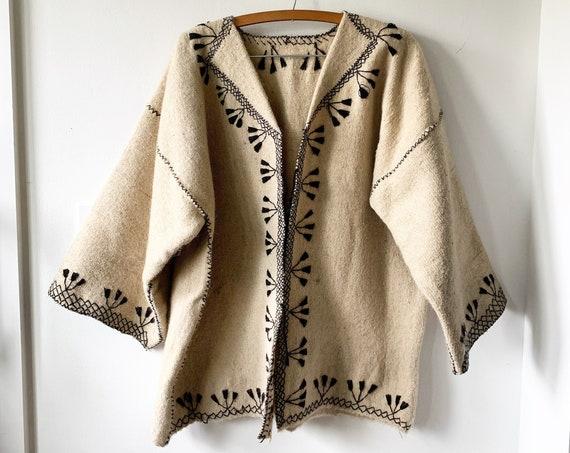 Vintage Ethnic Embroidered Wool Jacket , BOHO Ethnic Coat, Blanket Coat