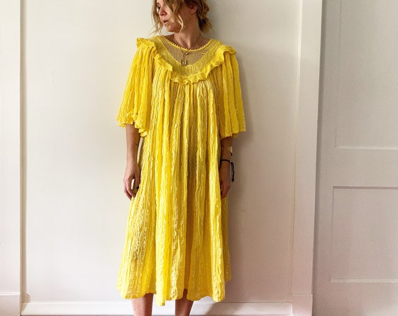 Vintage Cotton Gauze Crochet Dress,  Yellow Crochet Dress , Gauze Midid Dress