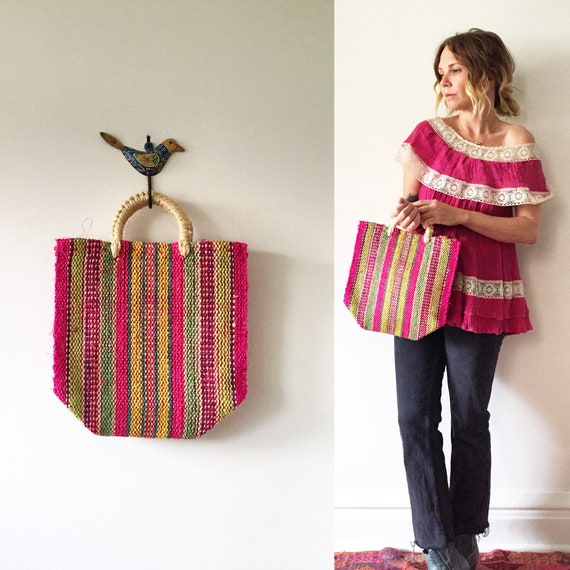 Vintage Mexican Sisal Handbag , Mini Straw Bag , Woven Sisal Bag