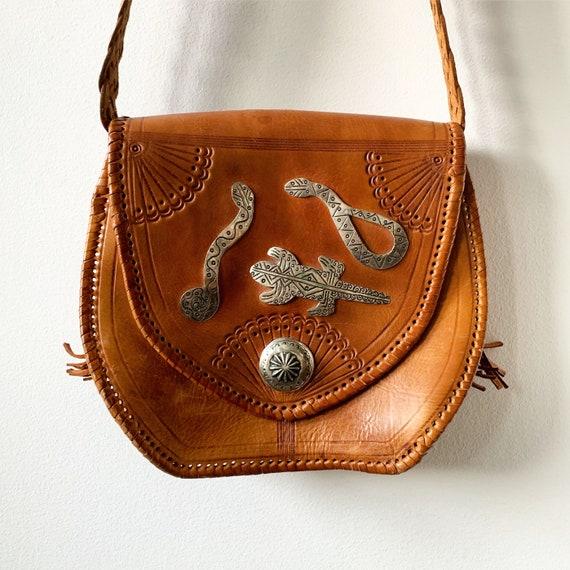 Vintage Southwestern Tooled Leather Bag , BOHO Natural Leather Bag