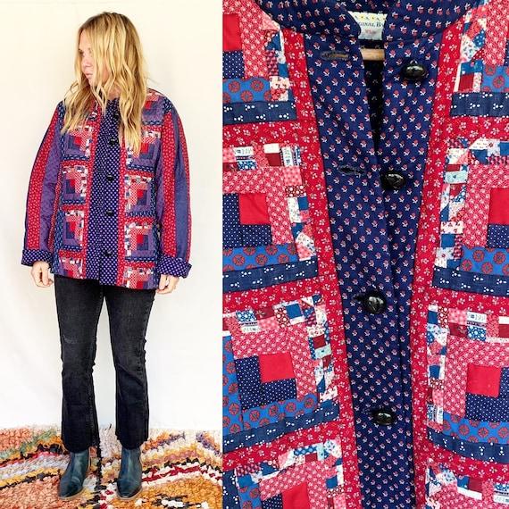 Vintage Handmade Patchwork Quilt Jacket , Folk Qui