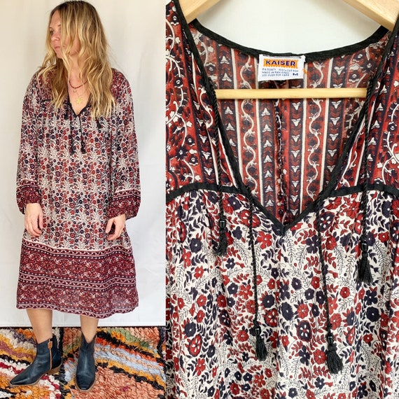 Vintage KAISER Block Print Dress , Pakistani Cotton Dress , Block Print Floral India Kaftan
