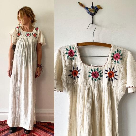 Vintage 70s India Cotton Gauze Dress , BOHO Hippie India Dress , Mirrored India Dreas