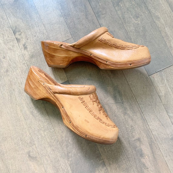 Vintage 70s Wooden Leather Clogs sz 10