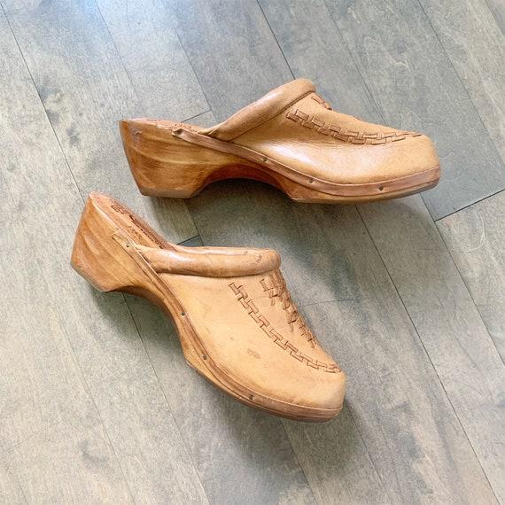 Vintage 70s Wooden Leather Clogs sz 10
