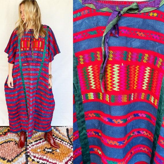Vintage Mexican Hand Loomed Embroidered Indigo Kaftan , Embroidered Huipil Dress , Ethnic Fringed Caftan
