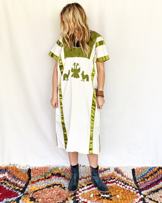 Vintage Hand Embroidered Mexican Huipil Dress , B… - image 3