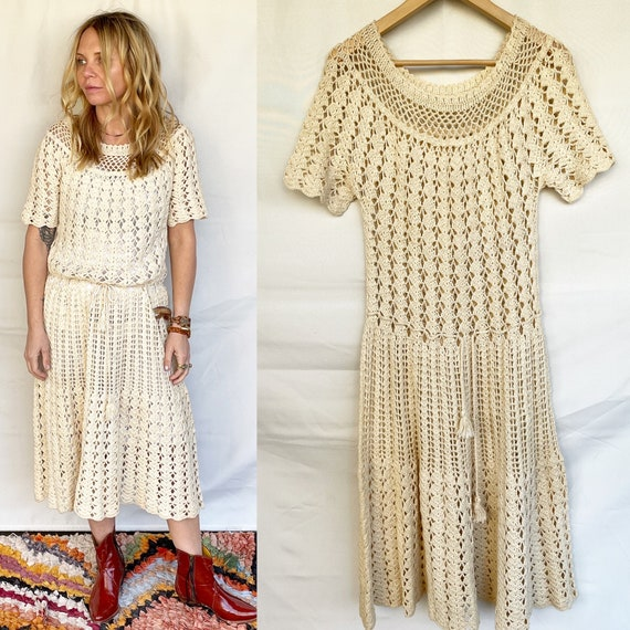 Vintage Cotton Crochet Midi Dress , Vintage Knit Dress