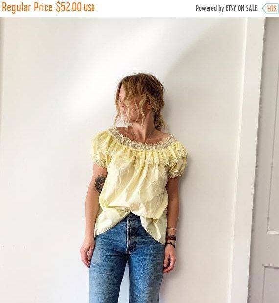 40% OFF SALE Vintage Mexican Off Shoulder Dress , Peasant Blouse