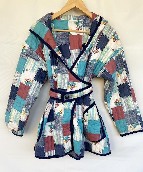 Vintage Handmade Quilted Printed Jacket , Folk Qui