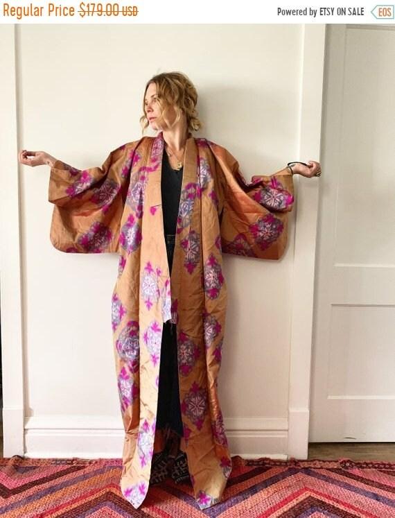 SALE 20% OFF Vintage Japanese Silk Kimono , Maxi Kimono , Floral Kimono , Printed Silk Kimono